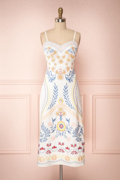 Delfinia White Floral Embroidered Midi Dress | Boutique 1861