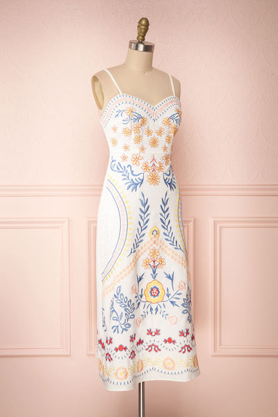 Delfinia White Floral Embroidered Midi Dress side view | Boutique 1861
