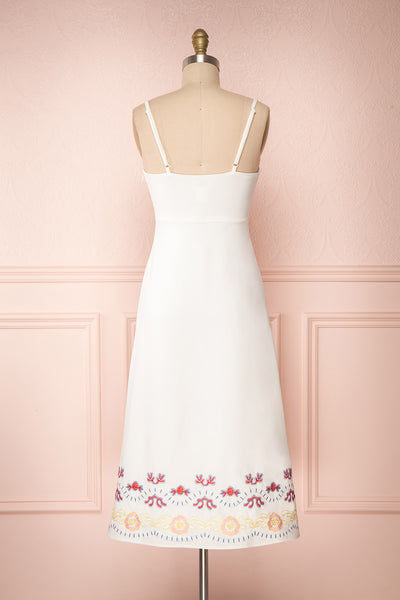 Delfinia White Floral Embroidered Midi Dress back view | Boutique 1861