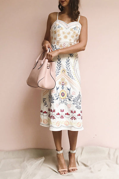 Delfinia White Floral Embroidered Midi Dress | Boutique 1861 model look