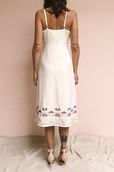 Delfinia White Floral Embroidered Midi Dress | Boutique 1861 model back