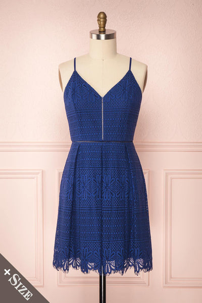 Deliciai Navy Lace Pleated A-Line Cocktail Dress | Boutique 1861