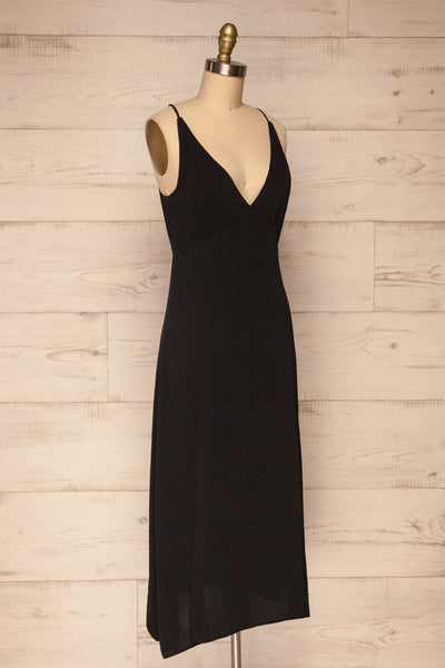 Delphi Black V-Neck Midi Dress | La petite garçonne side view