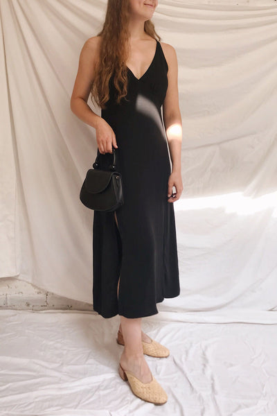 Delphi Black V-Neck Midi Dress | La petite garçonne model look
