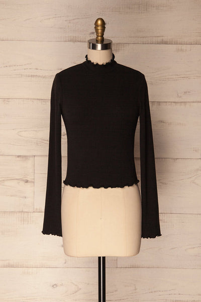 Demir Black Ribbed Crop Top with Mock Neck | La Petite Garçonne 1