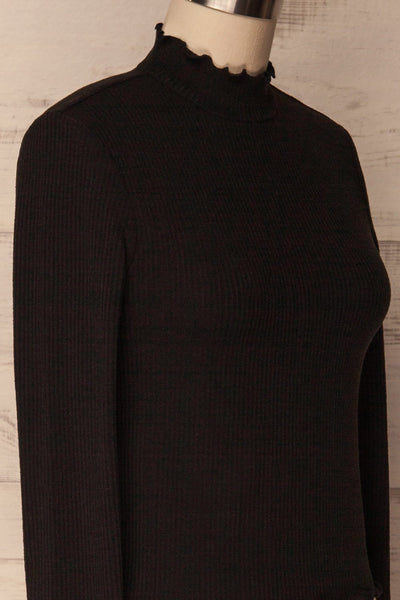 Demir Black Ribbed Crop Top with Mock Neck | La Petite Garçonne 5