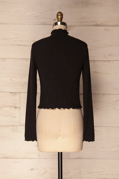 Demir Black Ribbed Crop Top with Mock Neck | La Petite Garçonne 6