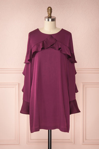 Derdre Plum Silky Tunic Dress with Ruffles | Boutique 1861
