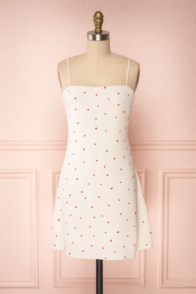 Desiree Beige Short Dress w/ Red Hearts | Boutique 1861 front view