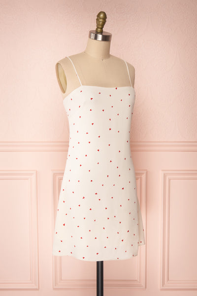 Desiree Beige Short Dress w/ Red Hearts | Boutique 1861 side view