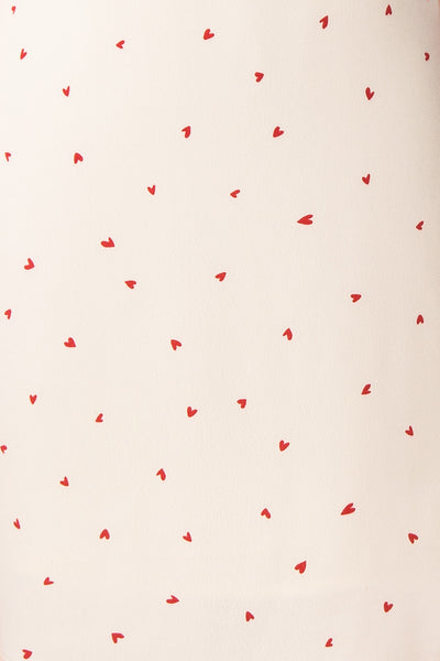 Desiree Beige Short Dress w/ Red Hearts | Boutique 1861 fabric