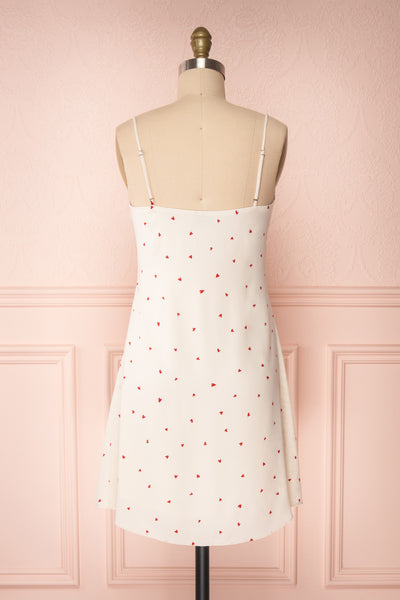 Desiree Beige Short Dress w/ Red Hearts | Boutique 1861 back view