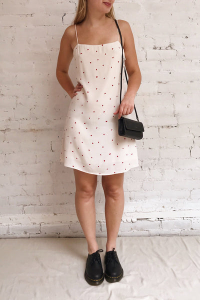 Desiree Beige Short Dress w/ Red Hearts | Boutique 1861 model look