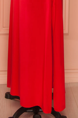 Desta - Red embroidered bell sleeves maxi dress