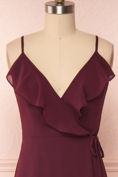 Destry Bourgogne Burgundy High-Low Maxi Wrap Dress front close up | Boudoir 1861