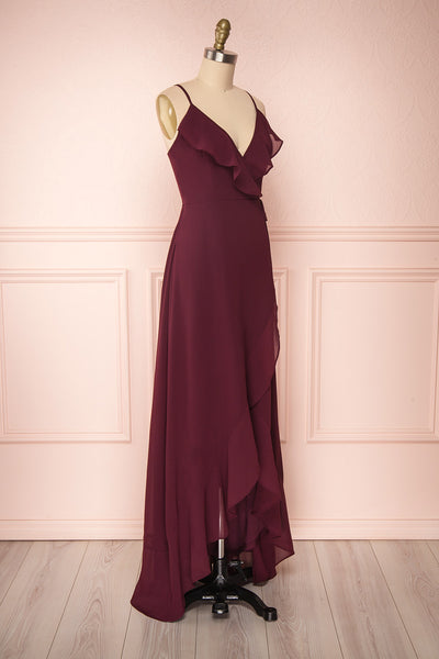Destry Bourgogne Burgundy High-Low Maxi Wrap Dress side view | Boudoir 1861