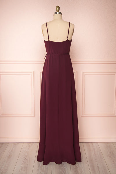 Destry Bourgogne Burgundy High-Low Maxi Wrap Dress back view | Boudoir 1861