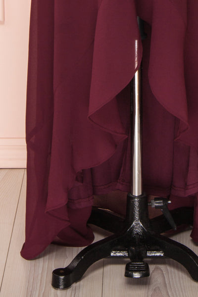 Destry Bourgogne Burgundy High-Low Maxi Wrap Dress skirt close up | Boudoir 1861