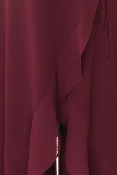 Destry Bourgogne Burgundy High-Low Maxi Wrap Dress fabric detail | Boudoir 1861
