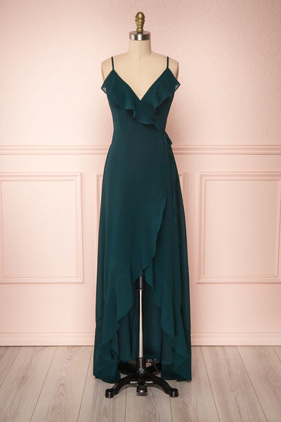 Destry Émeraude Emerald High-Low Maxi Wrap Dress | Boudoir 1861
