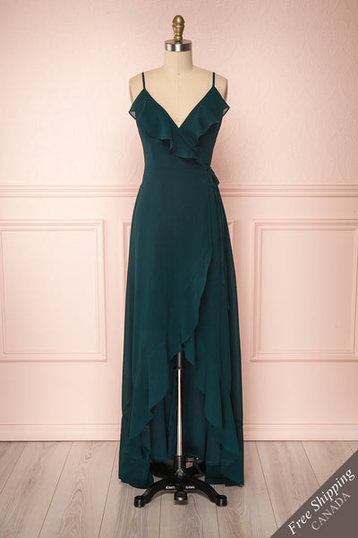 Destry Émeraude Emerald High-Low Maxi Wrap Dress front view FS | Boudoir 1861
