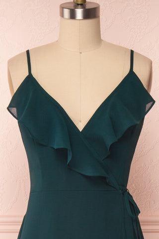 Destry Émeraude Emerald High-Low Maxi Wrap Dress front close up | Boudoir 1861