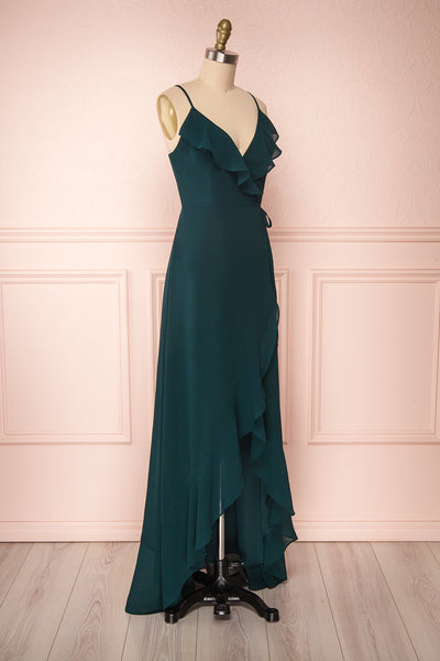 Destry Émeraude Emerald High-Low Maxi Wrap Dress side view | Boudoir 1861