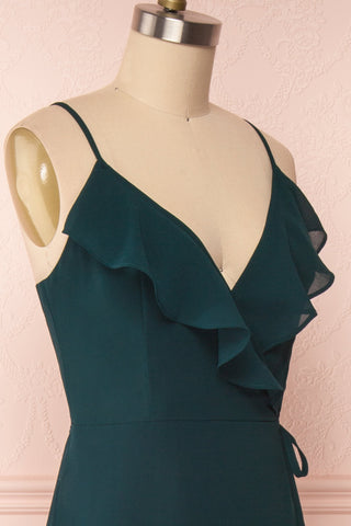Destry Émeraude Emerald High-Low Maxi Wrap Dress side close up | Boudoir 1861