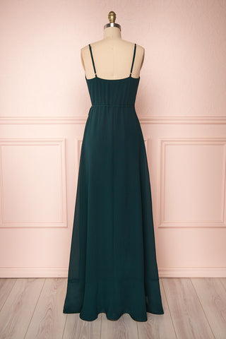 Destry Émeraude Emerald High-Low Maxi Wrap Dress back view | Boudoir 1861