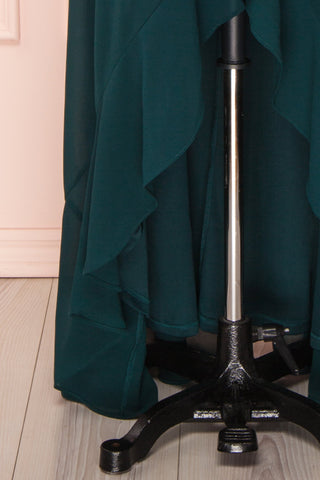Destry Émeraude Emerald High-Low Maxi Wrap Dress skirt close up | Boudoir 1861