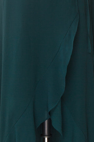 Destry Émeraude Emerald High-Low Maxi Wrap Dress fabric close up | Boudoir 1861