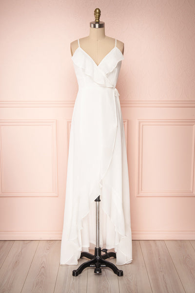 Destry Ivoire Ivory Ruffled High-Low Maxi Wrap Dress | Boudoir 1861