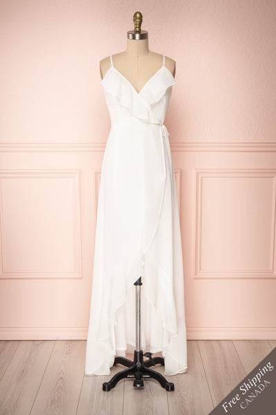 Destry Ivoire Ivory Ruffled High-Low Maxi Wrap Dress front view FS | Boudoir 1861