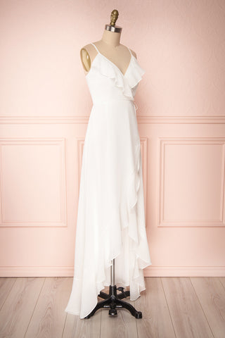 Destry Ivoire Ivory Ruffled High-Low Maxi Wrap Dress side view | Boudoir 1861