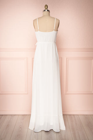 Destry Ivoire Ivory Ruffled High-Low Maxi Wrap Dress back view | Boudoir 1861