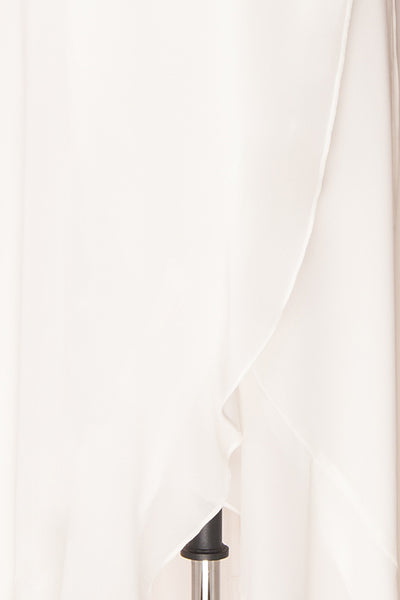 Destry Ivoire Ivory Ruffled High-Low Maxi Wrap Dress fabric detail | Boudoir 1861