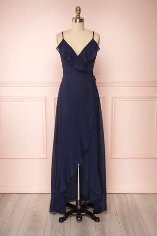Destry Marine Navy Blue High-Low Maxi Wrap Dress | Boudoir 1861