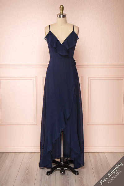 Destry Marine Navy Blue High-Low Maxi Wrap Dress front view FS | Boudoir 1861