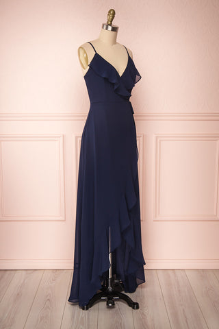 Destry Marine Navy Blue High-Low Maxi Wrap Dress side view | Boudoir 1861