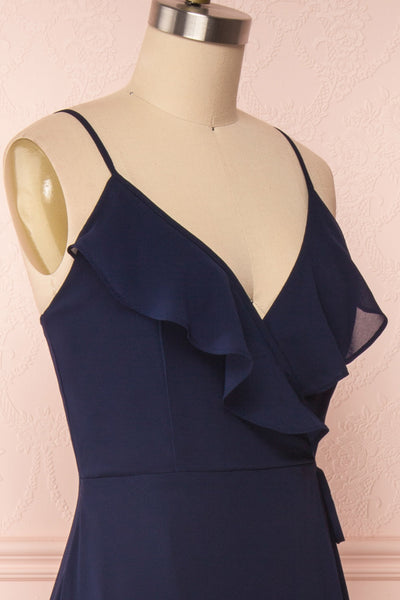 Destry Marine Navy Blue High-Low Maxi Wrap Dress side close up | Boudoir 1861