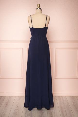 Destry Marine Navy Blue High-Low Maxi Wrap Dress back view | Boudoir 1861