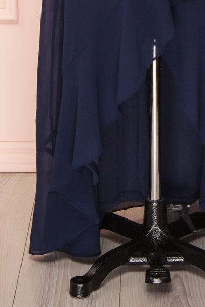 Destry Marine Navy Blue High-Low Maxi Wrap Dress skirt close up | Boudoir 1861