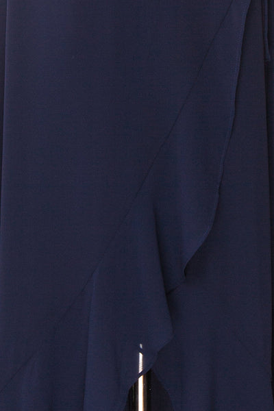Destry Marine Navy Blue High-Low Maxi Wrap Dress fabric close up | Boudoir 1861