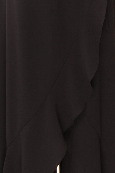 Destry Noire Black Ruffled High-Low Maxi Wrap Dress fabric close up | Boudoir 1861