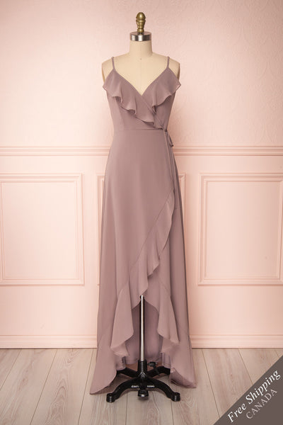 Destry Taupe Mauve Ruffled High-Low Maxi Wrap Dress front view FS | Boudoir 1861