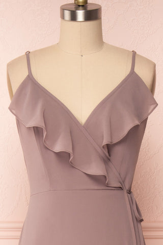 Destry Taupe Mauve Ruffled High-Low Maxi Wrap Dress front view | Boudoir 1861