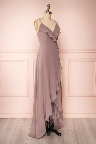 Destry Taupe Mauve Ruffled High-Low Maxi Wrap Dress side view | Boudoir 1861