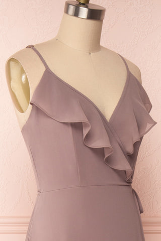 Destry Taupe Mauve Ruffled High-Low Maxi Wrap Dress side close up | Boudoir 1861