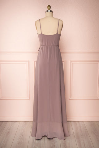 Destry Taupe Mauve Ruffled High-Low Maxi Wrap Dress back view | Boudoir 1861
