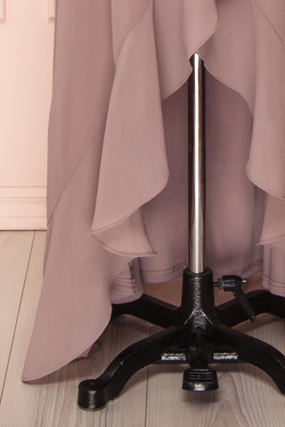 Destry Taupe Mauve Ruffled High-Low Maxi Wrap Dress skirt close up | Boudoir 1861